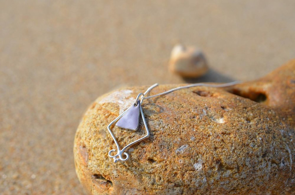 Violet Grey Enamel and Silver Triangle Pendant £50