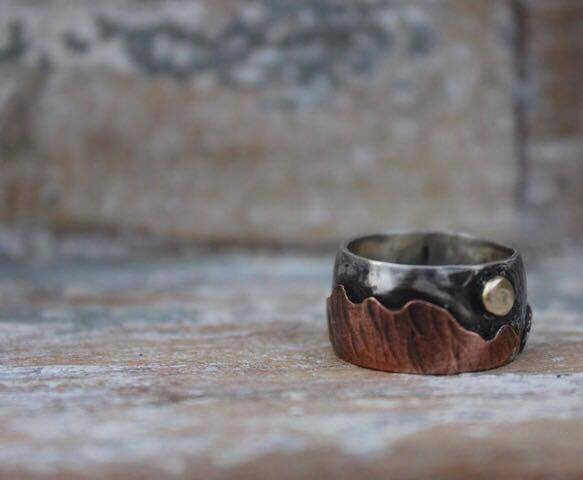 Silver, Copper & Gold Mountain Ring £130-£150 (Sold)