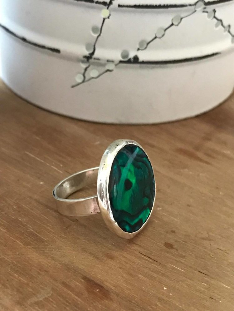 Silver and Green Paua Shell Ring £70 (Sold)