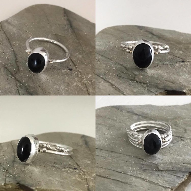 Silver and Black Onyx Stone Ring with 9ct Gold Granules £65 (Sold)