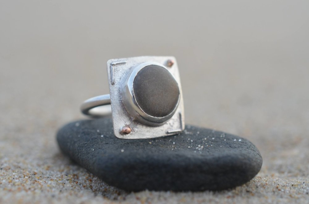 Silver and Pebble Set Square Ring with 9ct Rose Gold Granules £120.