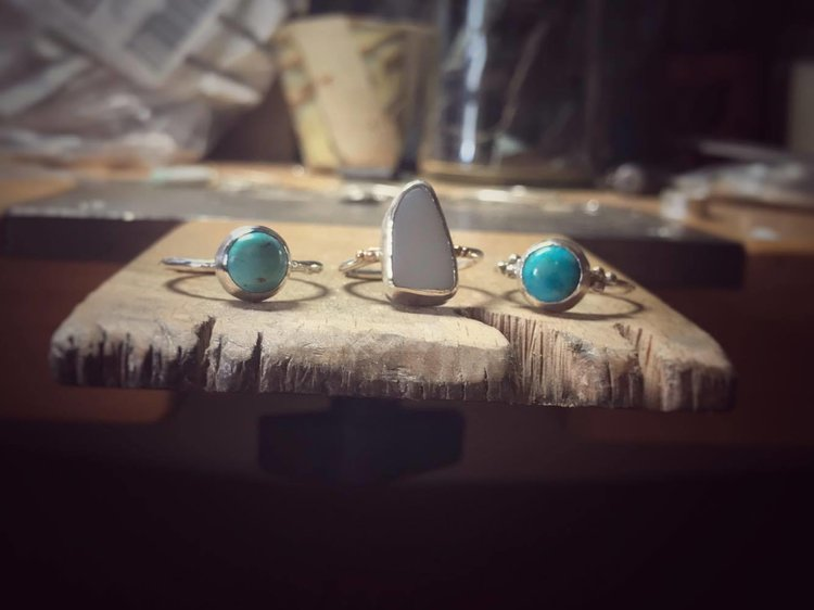 1.Silver and Turquoise Ring: £60 2.White Pebble, Silver & 9ct Rose Gold £65