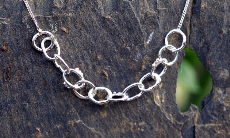 Silver Dainty Multi Textured Chain and Granule Bracelet £45