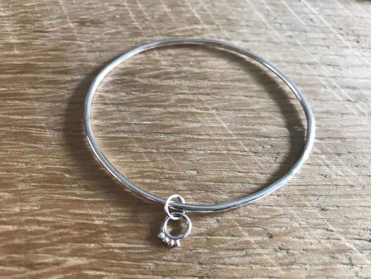 Silver Single Charm Bangle £55