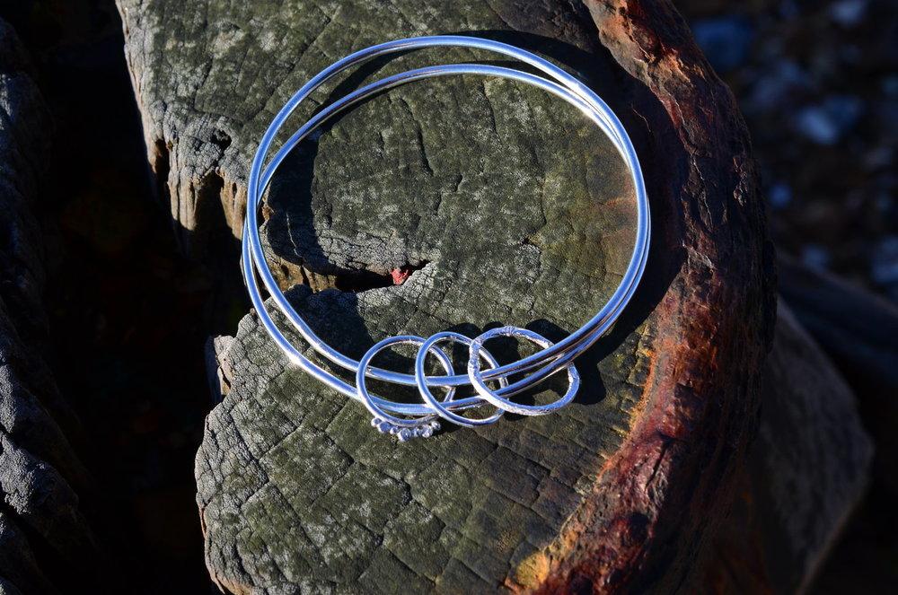 Silver Textured Three Circle Double Bangle £100