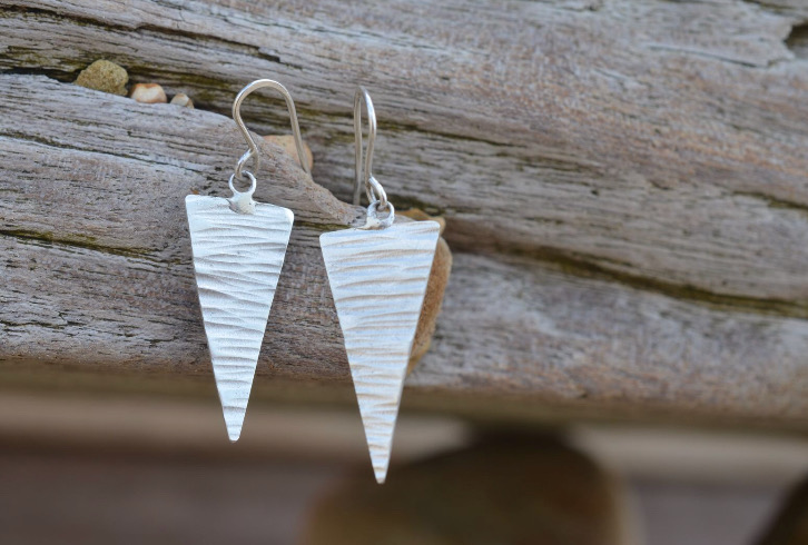 Silver Line Textured Triangle Earrings £25 (Sold)