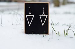Hammered Hollow Triangle Drop Earrings £40.