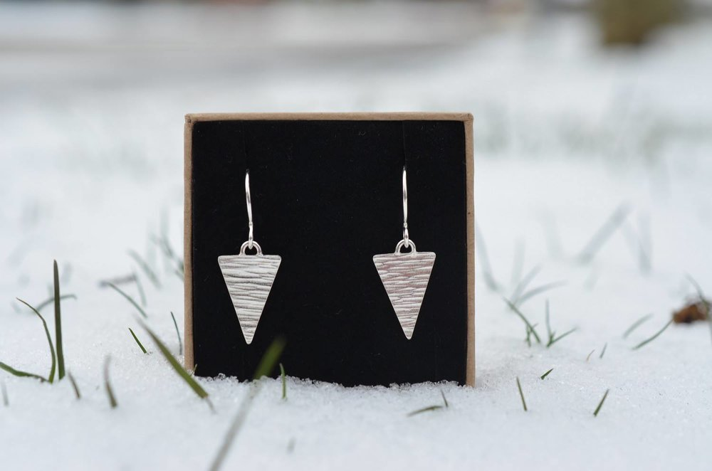 Hammered Triangle Drop Earrings £30.
