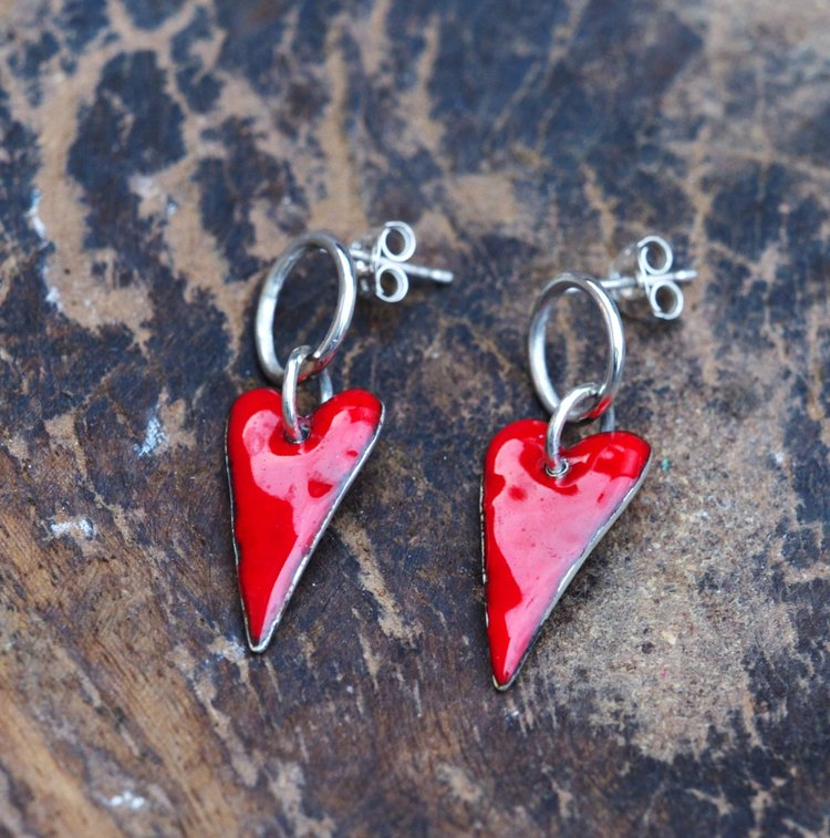 Red Enamel Heart Stud Earrings £50.