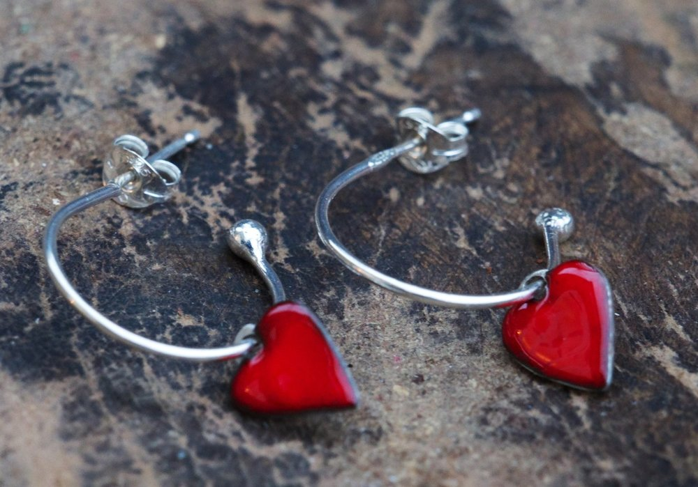 Red Enamel Heart Hoop Earrings £35.