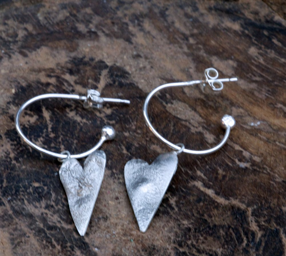 Textured Heart Hoop Earrings £35