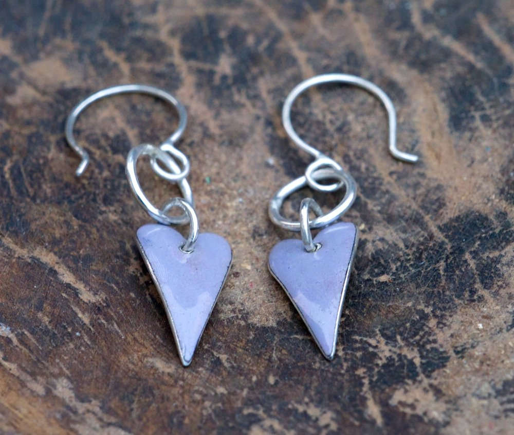Violet Grey Enamel Heart Drop Earrings £50