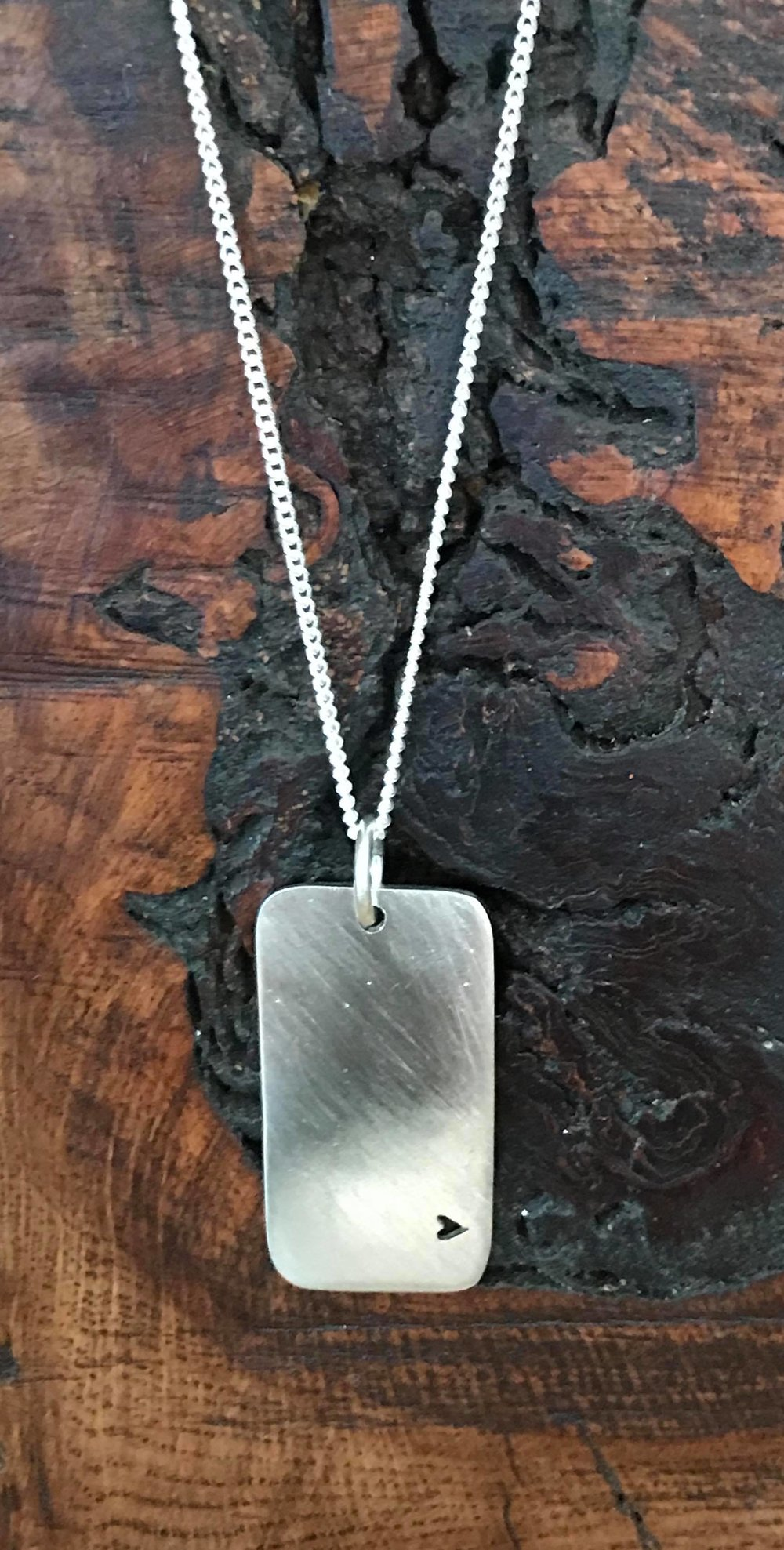 Brushed Eco Silver Dog Tag Style Necklace £60+