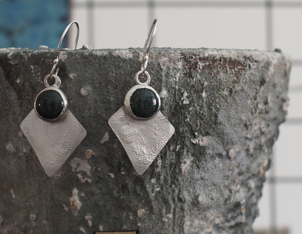 Moss Green Agate and Reticulated Silver Earrings £90. (Sold)