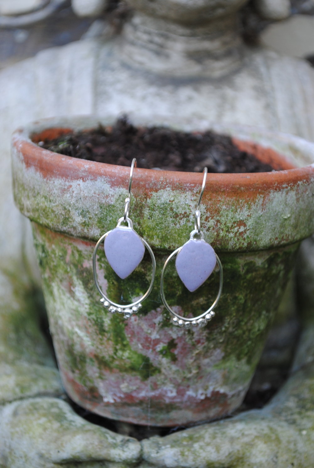 Violet Grey Enamel & Silver Earrings £85