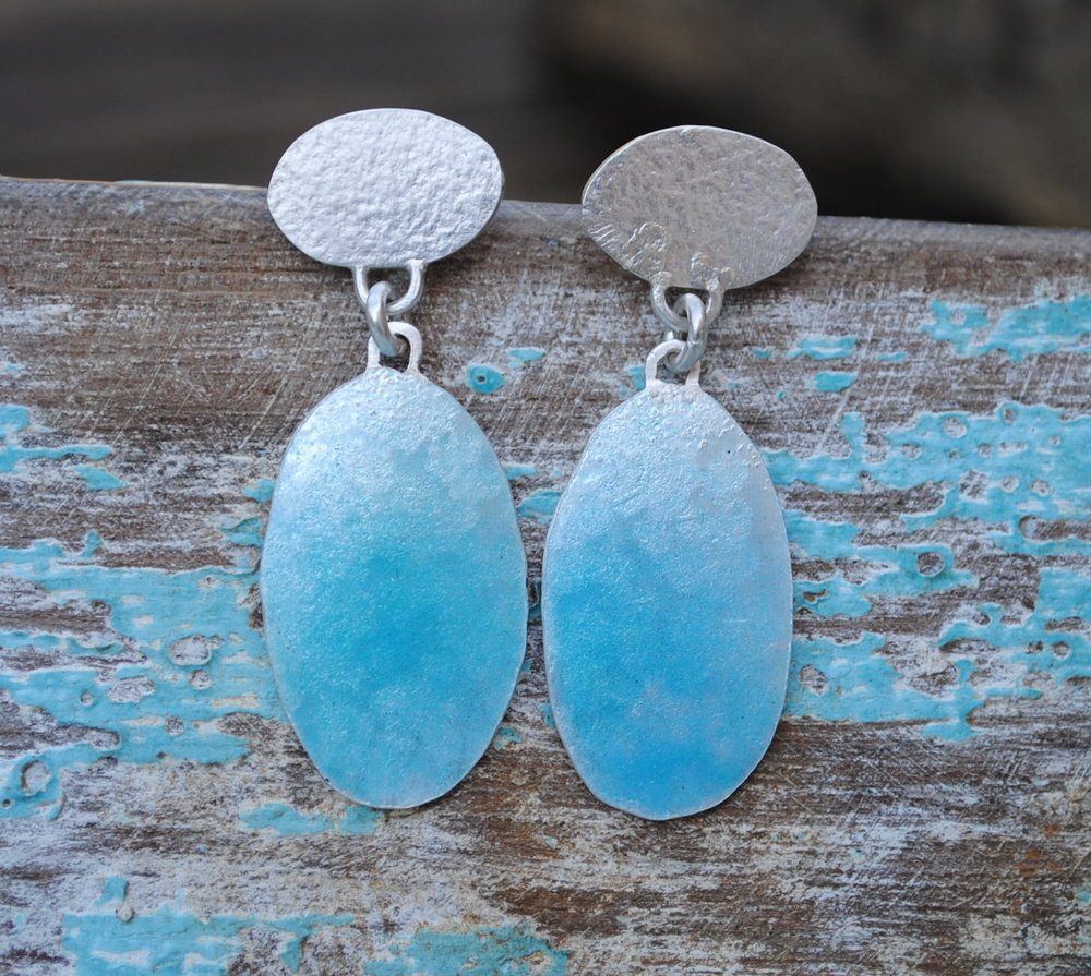 Glacier Blue Enamel and Silver Earrings £85.