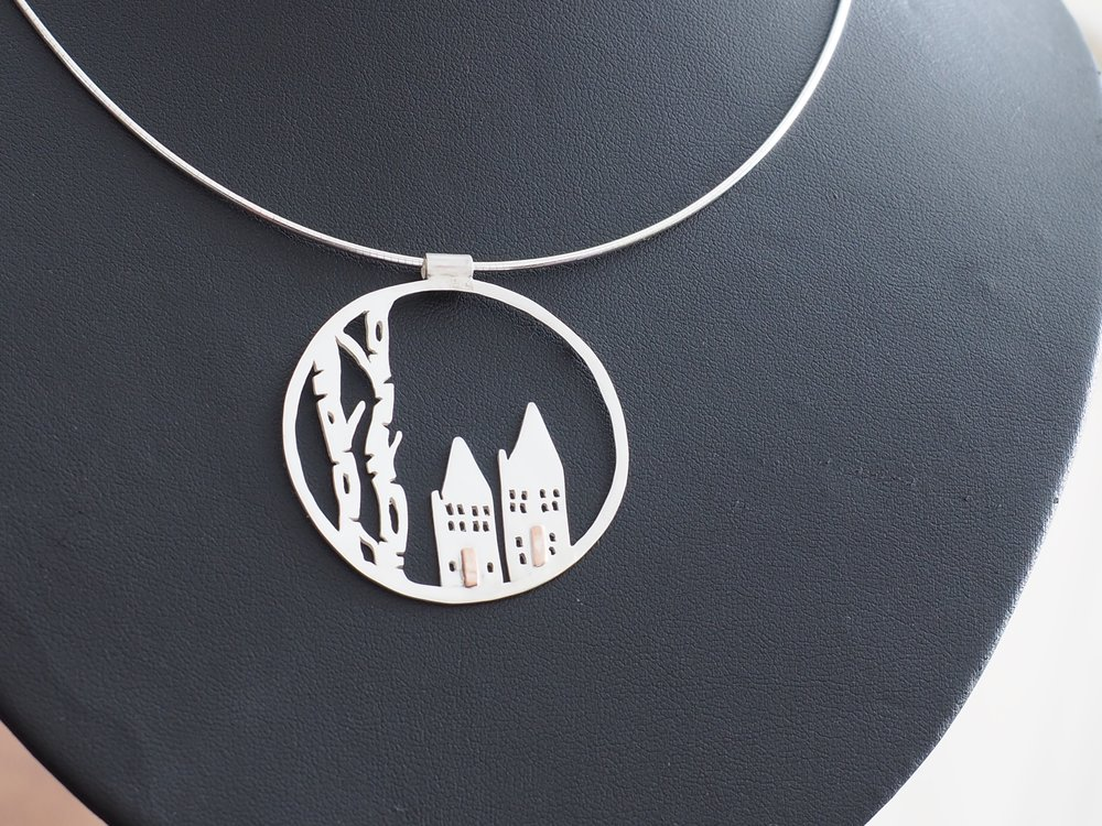 "Birch Trees and Houses pendant £160 Silver and Copper on 18"" Omega Chain."
