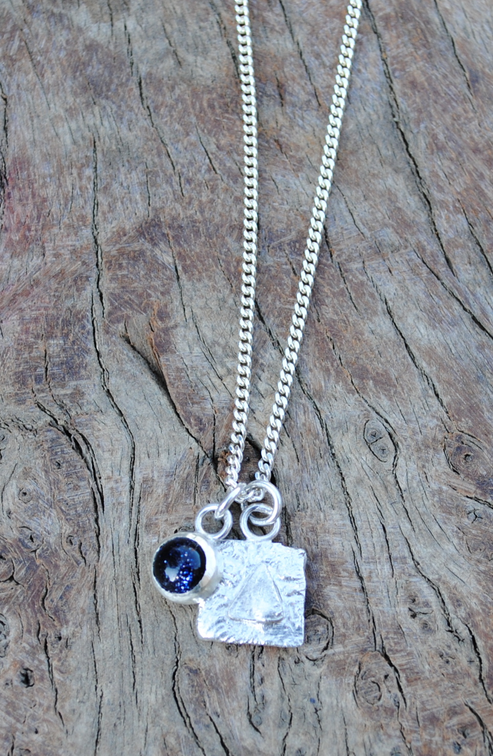 Fused Pendant and set Blue Goldstone £60.