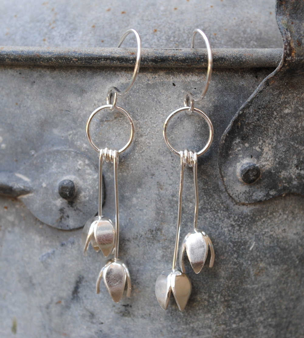Recycled Sterling Silver Tulip Drop Earrings. £90.