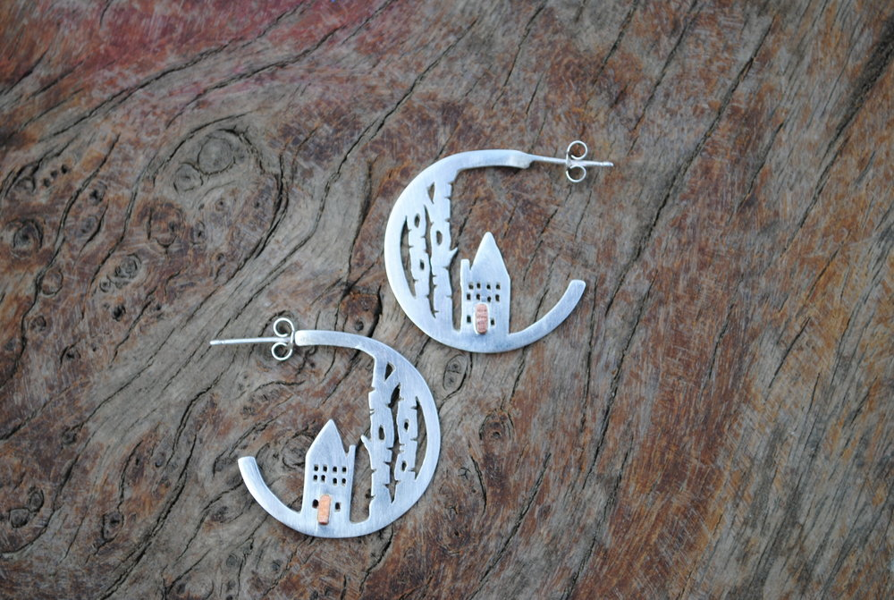 Recycled Sterling Silver House and Birch Tree Hoops with Copper Doors. £80.