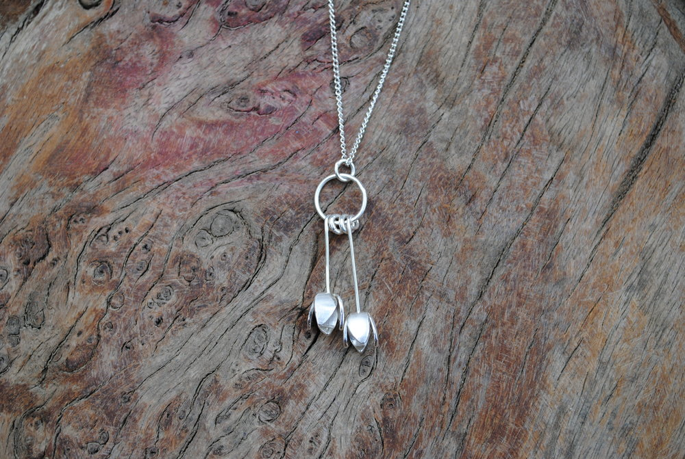 "Recycled Sterling Silver Tulip Necklace on 18"" Silver Chain. £70"