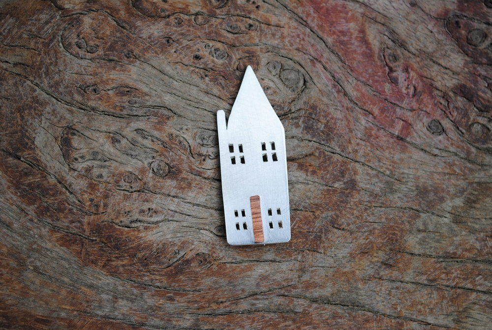 Recycled Sterling Silver, Copper and Sprung Steel House Brooch. £50.