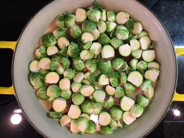 Here are the brussel sprouts all fanned out in a pan of olive oil making sure that they are  not overlapping