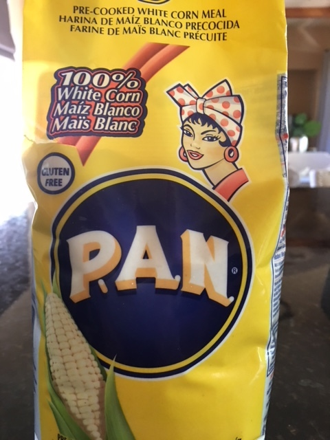 This is the corn meal for making the arepas but any pre-cooked white corn meal should work as long as it is a fine texture.