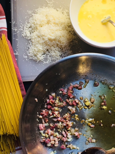 Here are some of the ingredients prepared for the carbonara!