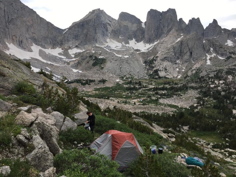 Our campsite a few days later, even more primitive than the previous one, but a glorious view of the famous Cirque of the Towers in the Wind River Range.