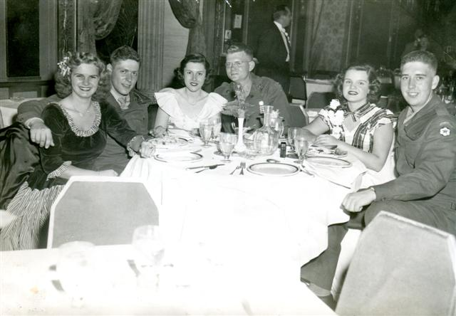 1946, Empire Room after military Ball, Ella Dull, Len Borok, Elaine Leckelt, Bill Holwick, Marilyn Musick, Bob Brett (Small).jpg