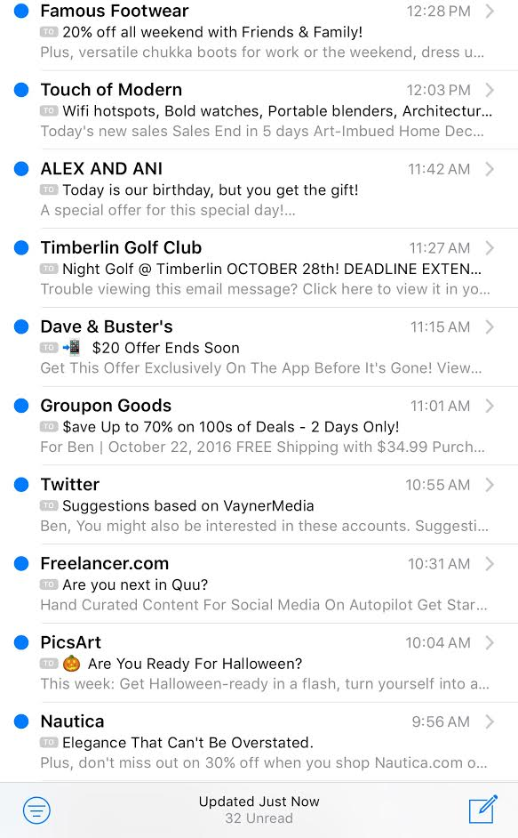Does this inbox look like one of your old email accounts? It may be the new norm of email