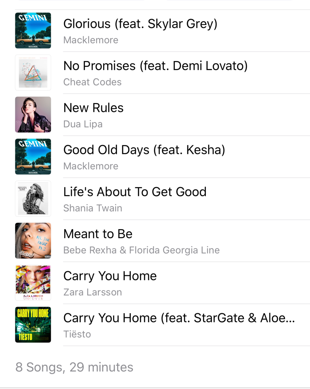 iTunes fitness playlist