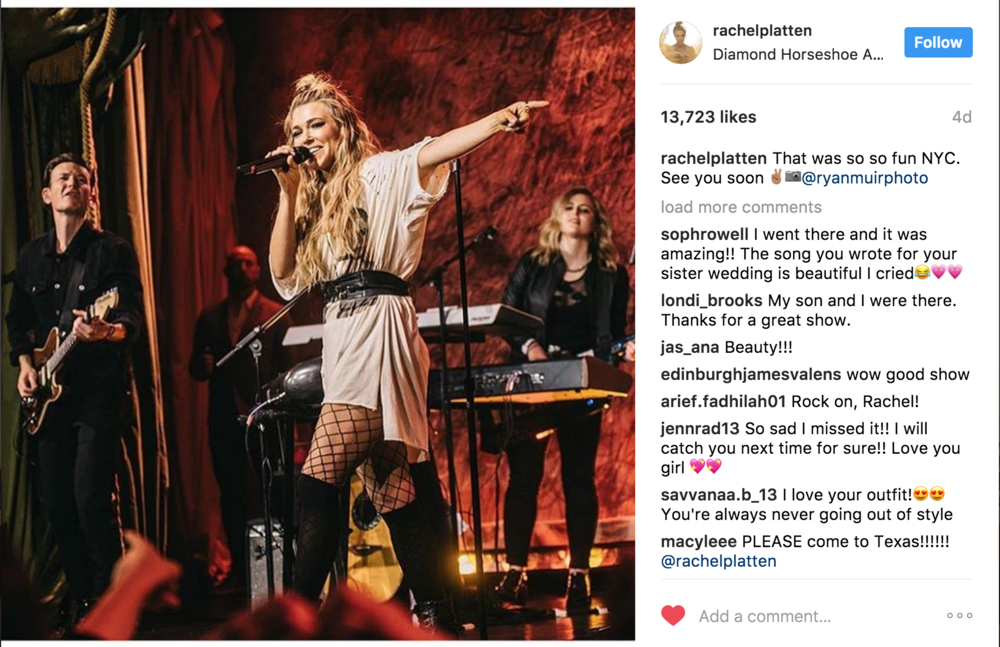 "Rachel Platten   (Client: Live Nation and TJ Maxx)  Ryan was contracted by  Live Nation  to document the launch of ""The Maxx You"" at the  Diamond Horseshoe.  ""Fight Song"" artist  Rachel Platten  shared Ryan's image to her fans on her instagram."