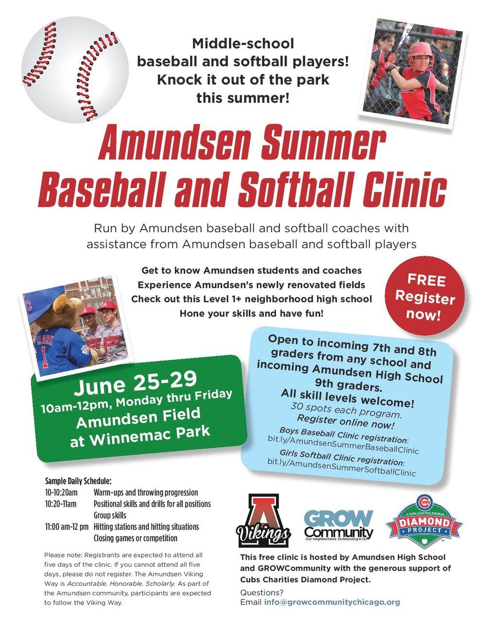 Amudsen Summer Baseball and Softball Clinic