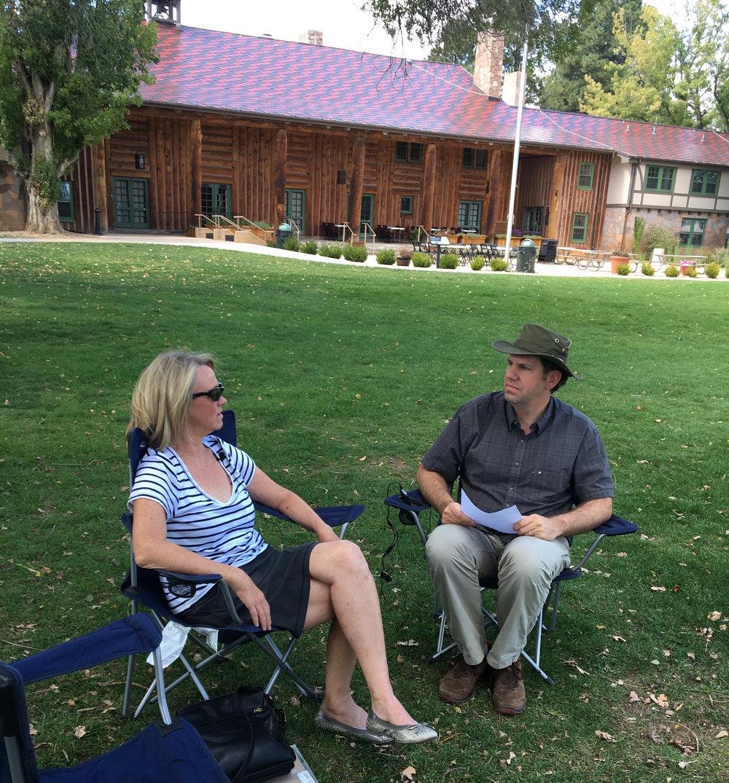 Reid Priedhorsky, PCA Secretary, interviewing candidate Sara Scott. Photo by Wendy Caldwell, PCA President