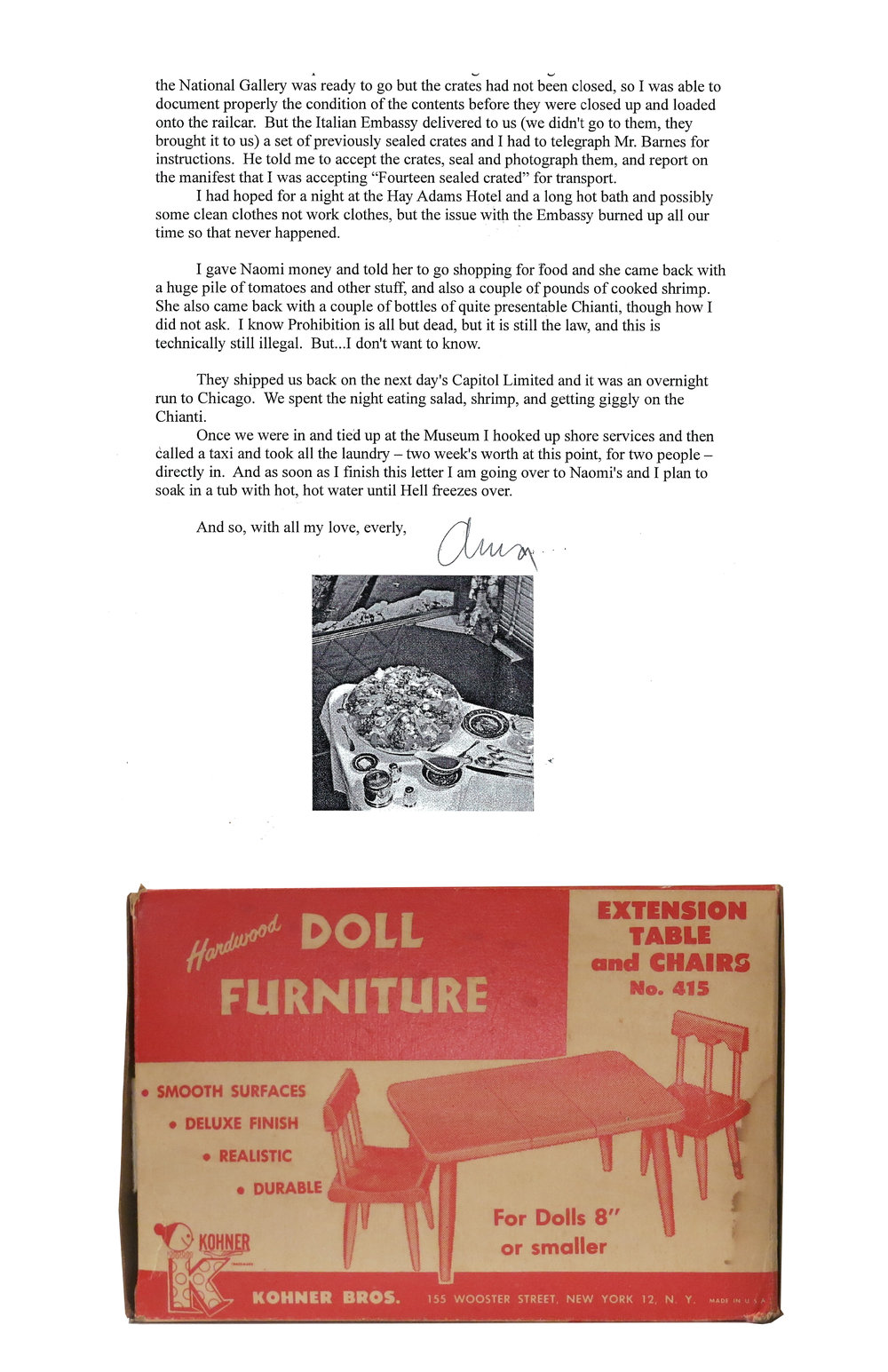 1940's era vintage doll furniture accompanied with