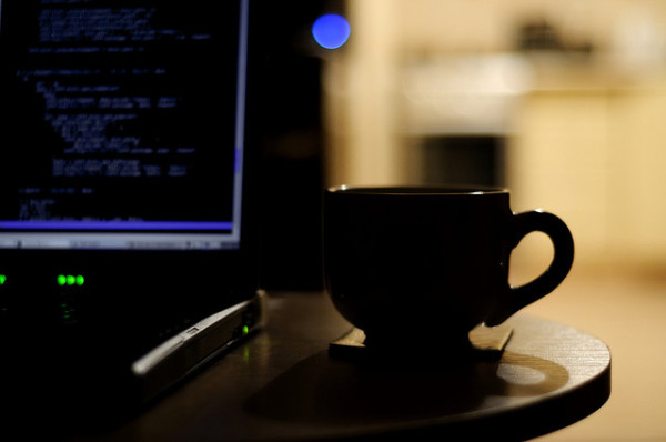coffee at laptop