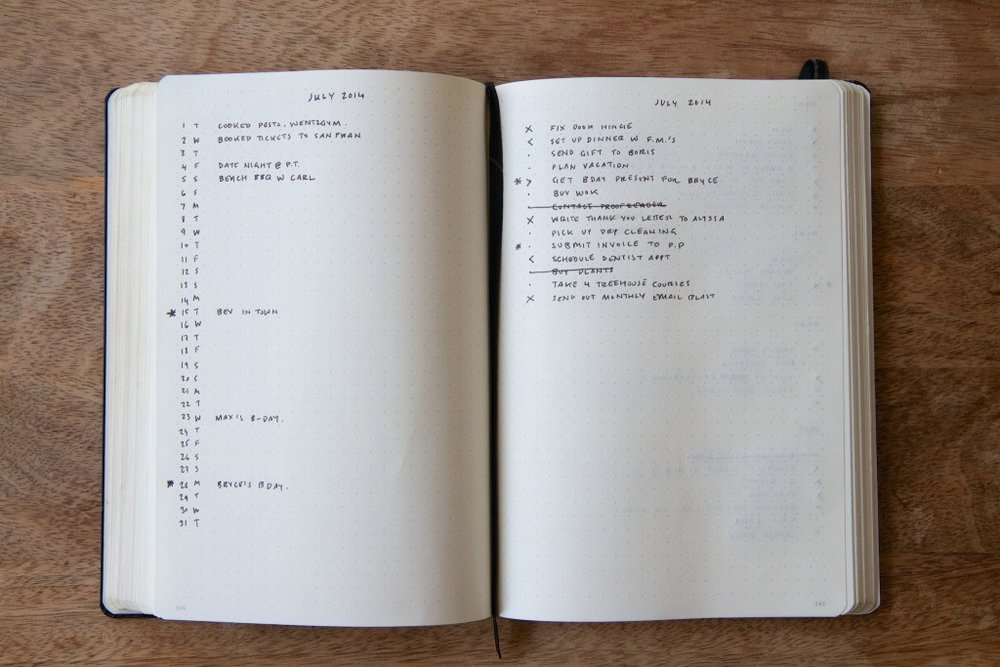 A sample Bullet Journal, from the Bullet Journal website.