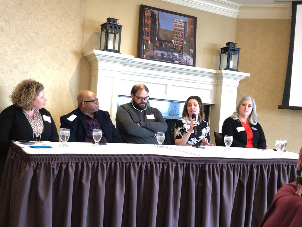 From left to right: Amanda St. Pierre (moderator), Rick Pulliam, George Wietor, Lauren Carlson and Angie Morales