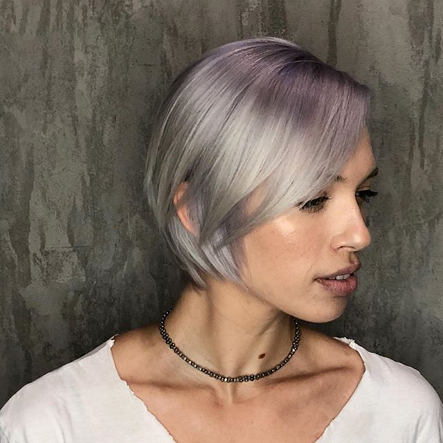 Lavender Ice 💜❄️ So happy I got to do this babe's wedding haircolor. Congratulations @kristencdugas 🖤🖤🖤 @theharlotsalon @wellaeducation #askforwella