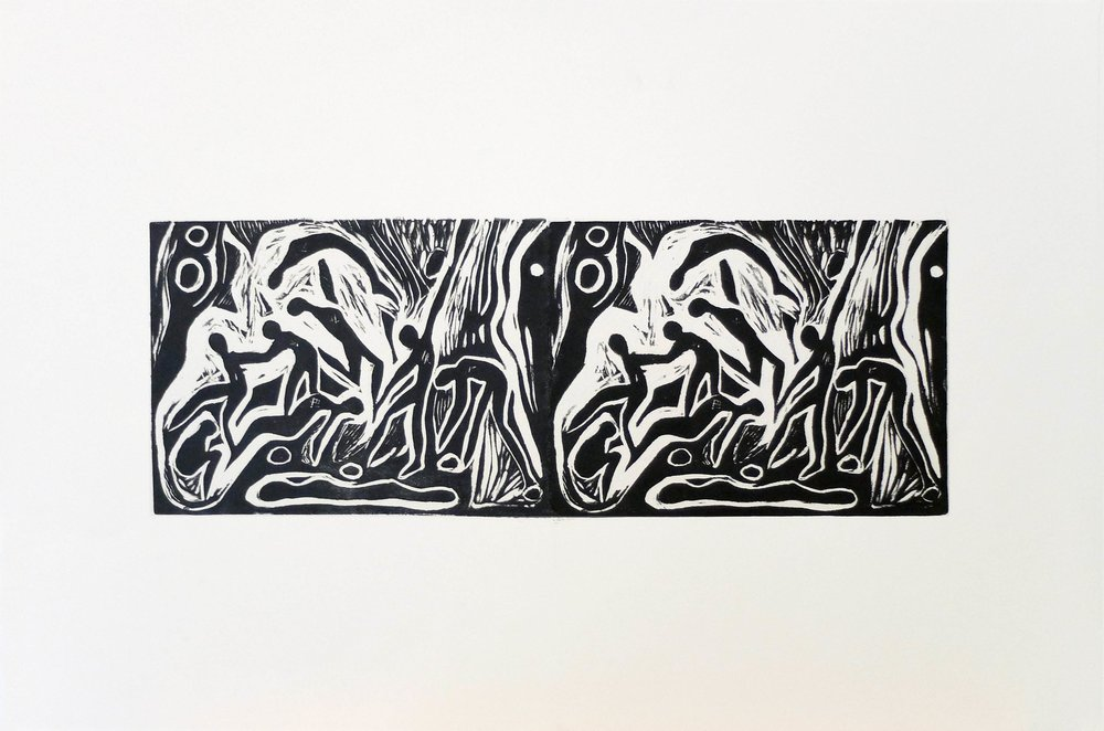 Revealed Entities II 15' x 22'' Linocut