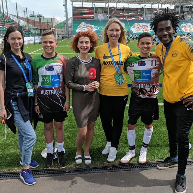 Noah Borg, Luca Durso and Emanuel Saakai were interviewed by Olga Klepova from SBS The World Game at the @footballforfriendship World Championship yesterday. Stay tuned for the link to the story in the next few days. ⚽️🇦🇺