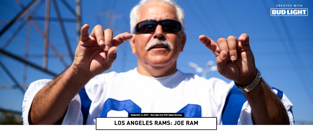 "Vice Magazine  contacted our Staff Member,  Joe ""Silver Fox"" Ramirez  for a Super Fan photo shoot. They are doing 27 out of 32 NFL teams and Joe was chosen to represent our LA Rams! (2016)   Click on image for full article"