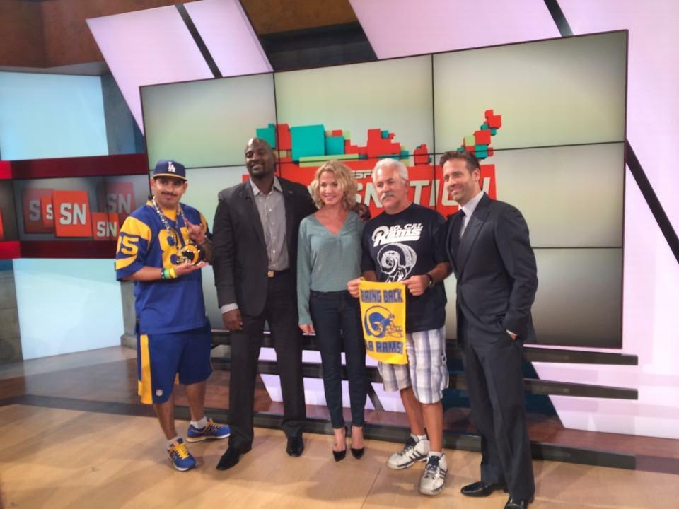 "Staff Members  Joe ""Silver Fox"" Ramirez & Aron Gonzales  with ESPN SportsNation Hosts  Michelle Beadle, Max Kellerman &   Marcellus Wiley.  (2014)"