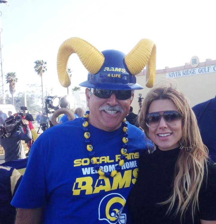 "Staff Member  Joe ""Silver Fox"" Ramirez  with Fox Ch.11 Sports Reporter,  Liz Habib  in Oxnard. (2016)"