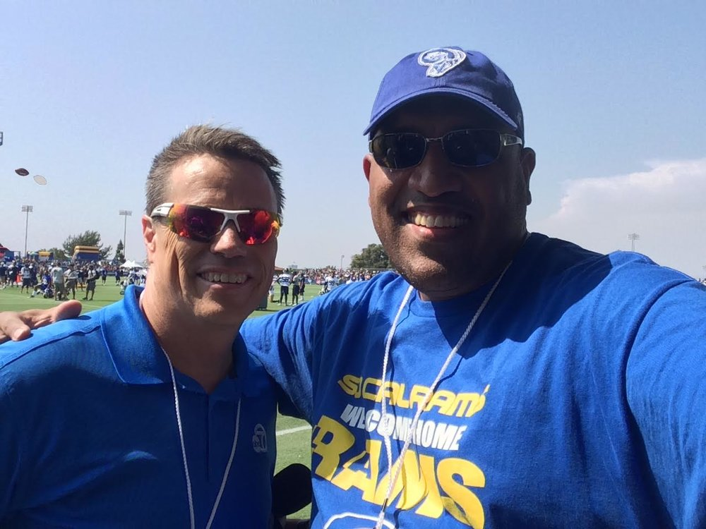 Staff Member  Paul Maleno  with ABC Ch.7 Sports Reporter  Curt Sandoval  at the Rams training camp in Irvine. (2016)