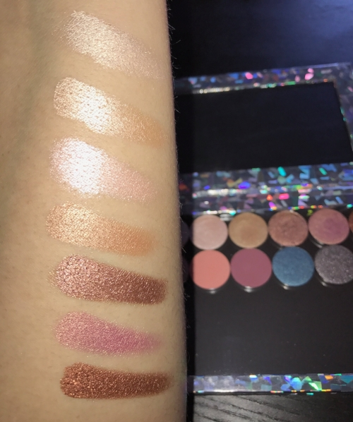 Unedited, Single finger swatches! do you see this beam?! Colourpop's Metallic and shimmer shadows are out of this world. From Top to Bottom: Let Me Explain, Take It Slow, Liar Liar, You Know The Drill, High Strung, Come and Get It, Milli.