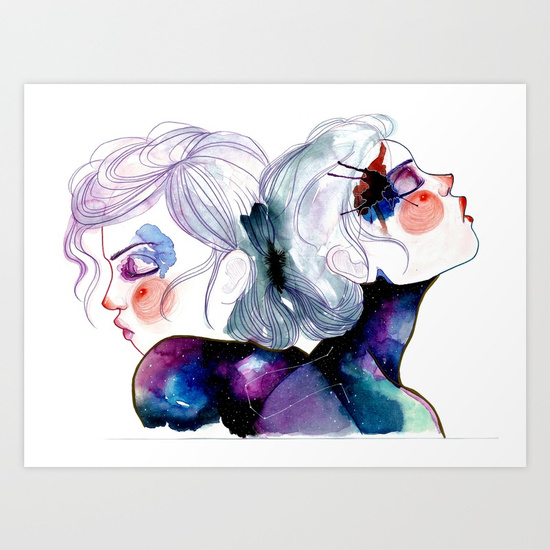 Gemini Girls by Arte Di Gia print available  here
