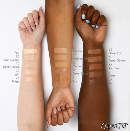 Colourpop staff has stated that more shades are in the works and they currently have 5 shades each for Fair tones, Medium tones and Dark tones.